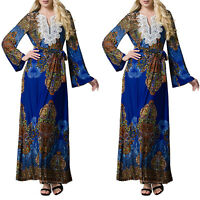 Plus Size Women Muslim Abaya Floral V-Neck Kaftan Long Sleeve Islamic Maxi Dress