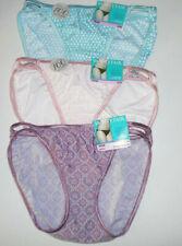 3 Vanity Fair Bikini Panty Illumination 18108 Set 6 M Blue Pink Green Geo Prints