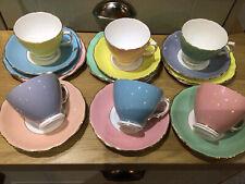 More details for vintage colclough pretty pastel 18pc teaset harlequin wedding/tearoom