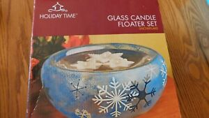 Holiday Time Glass Candle Floater Set Blue White Snowflake Star Candles