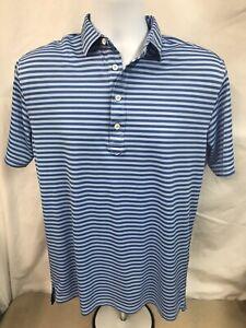 Johnnie O West Coast Prep Mens Small Blue Striped Golf Polo Shirt Polyester