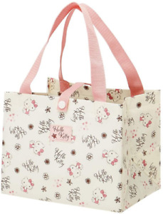JAPAN SANRIO Hello Kitty Cat Flower Pink Beige Bento Bag Small Lunch Tote School