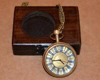 Vintage antique maritime brass pocket watch marine art collectible w/ wooden box