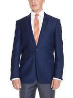 Mens 42L Raphael Regular Fit Solid Blue Two Button Blazer Suit Jacket