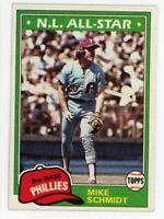 1981 Topps MIKE SCHMIDT Rare BASEBALL CARD 540 Philadelphia Phillies NL ALL STAR