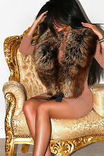 LUXURIOUS GOLDEN AMBER SILVER RED SAGA FOX REAL FUR STOLE WRAP BOA COLLAR XL