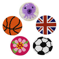 Round Latch Hook Rug Kits Crocheting Cushion Carpet Embroidery Package 27cm