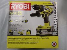 Ryobi P1813 18-Volt ONE+ Brushless Hammer Drill Kit (P251 P117 P108) New In Box