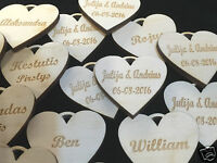 Personalised Wooden Hearts DOUBLE Sided  Table Decorations Wedding Party Favours