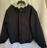 RedHead Mens Hooded Lined Heavy Coat Size Large Navy Blue Zip Front Insulated