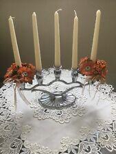 Kerzenständer 5-armig  Metall neuwertig mit Kerzen u. Blumenringen