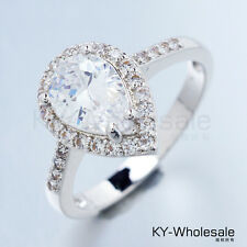 Water Drop Real White Gold Plated Clear Cubic Zircon Gemstone Rings X0046 Size 6