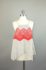 THML ivory black & red embroidery rayon spaghetti straps top tank blouse sz M