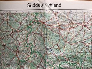 ORIGINAL 1967 GERMAN MILITARY MAP OF SOUTHERN GERMANY: SÜDDEUTSCHLAND 128x100cm