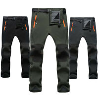 Men's Soft Shell Fleece Warm Pants Climbing Hiking Trousers Winter Skiing Pants