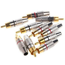 10 Pcs/ Set Metal RCA Male Plug Solder Audio Video Cable Cord Adapters Connector