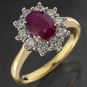 Classic Solid 18k Yellow GOLD NATURAL RUBY & 10 DIAMOND CLUSTER RING MHJ Sz O