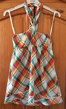 New Look Orange Check Bandeau Top Halter Neck Sun Summer Holiday Size 10