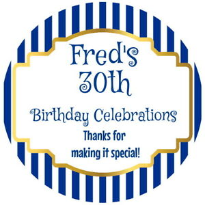 PERSONALISED NAVY GLOSS CELEBRATION 30TH BIRTHDAY PARTY CONE STICKERS  ANY AGE