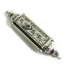Mezuzah Case Yemenite Filigree 925 Sterling Silver Judaica Door Mezuza Handmade