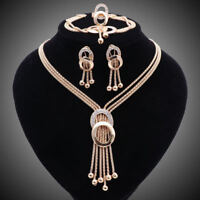 Women Gold/Silver Plated Tassel Crystal Pendant Necklace Earring Jewelry Sets