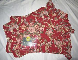 Ralph Lauren MARSEILLES Floral RED Ruffled Twin flat SHEET + 2 pillowcases Set
