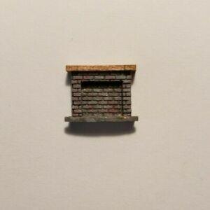 Dollhouse Miniature 1:144 Scale Gray Brick  Fireplace w/ Wood Mantle ASSEMBLED
