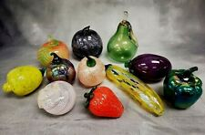 Beautiful Lot of 11 Murano Style Hand Blown Art Glass Fruits & Vegetables Apples
