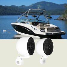 "(2) Rockville MS40B White 4"" 200 Watt Marine Wakeboard Tower Boat Speakers"