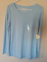 Women's Stylus Tee Top Crew Neck Knit Long Sleeve Soft Blue Sz M NWT
