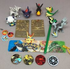 """Lot of 7 Pokemon TOMY 2"""" Figures 2 Gold-plated Cards 4 Coins Stylus Charm"""