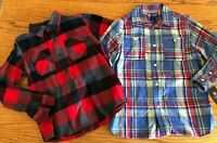 2 NEW Boys long-sleeved Collared tops size 7 Cotton Flannel Chaps Plaid Shirt