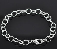 12 Silver Plated Chain Bracelets Fit Clip On Charm 20cm