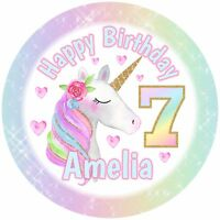 "7.5"" Unicorn Birthday Edible Personalised Cake Topper"