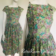 VINTAGE 1950s Bright Cotton Multi Floral Shirt Full Dress 12