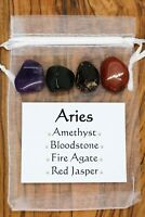 Aries Crystal Gift Set Amethyst Bloodstone Fire Agate Jasper Horoscope Star Sign