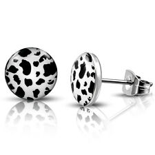 Stainless Steel Black & White Leopard Print Round Ear Studs Earrings CLEARANCE