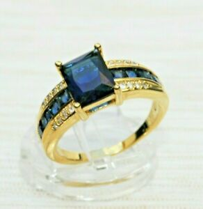 Saphir blau Zirkon Brillant-Imit. Herren Damen Ring Gold 18K vergold Gr 63 Ø20,0