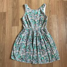 Dotti Size 8 Vintage Style Cut Out Back Floral Pleated Dress Womens Summer