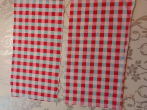 CATH KIDSTON FABRIC COTTON VINTAGE ROSALIE CHECK BLUE RED 2 pieces 22cm 12cm