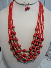 Multi Layers Red Lucite Bead Glass Seed Bead Gold Tone Bead Necklace Earring Set