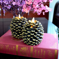 Set of 2 Luminara Flicker Flameless Wax Led Candles Pine Cone for Home Decor