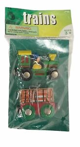 NEW Maxim 'Trains' 2 Pack Wooden Engine/Flat Car w/Load 36895 Magnetic