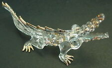 Glass CROCODILE ALLIGATOR Reptile Gold Painted Clear Glass Ornament Glass Animal