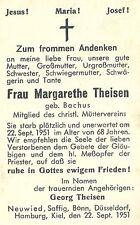 Sterbebild Margarethe Theisen Zorn baccus 1951 Neuwied saffig bonn Düsseldorf