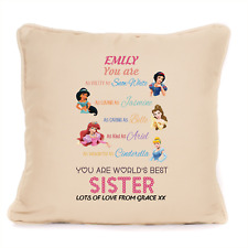 Best Sister Disney Themed Personalised Cushion Gift From Brother Or Sister