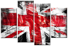 EXTRA LARGE CANVAS RED BLACK WHITE UNION JACK PICTURE SPLIT WALL ART  5FT 60""