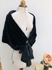 Black Faux Fur Stole Wrap Shrug Ribbon Ties Vintage Style Ball Formal Wear