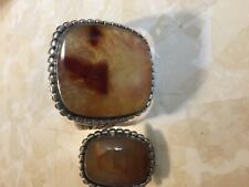 STERLING SILVER FIRE AGATE LARGE CUFF w/MATCHING RING