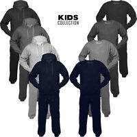 Junior Kids Boys Tracksuit Set Fleece Hoodie Top Bottom Jogging 1 to 13 Age